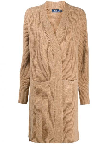 Бежевое кашемировое длинное пальто с карманами Polo Ralph Lauren