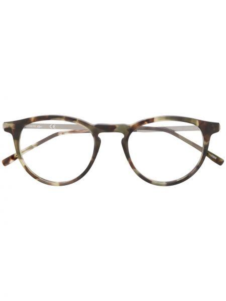 Brązowy oprawka do okularów metal okrągły za pełne Lacoste