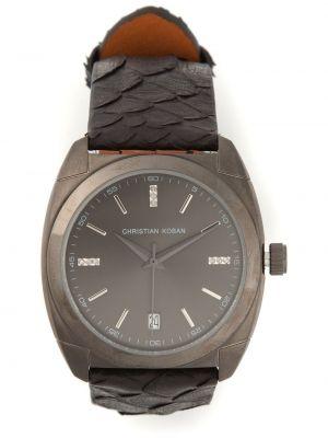 Czarny zegarek na skórzanym pasku skórzany z diamentem Christian Koban