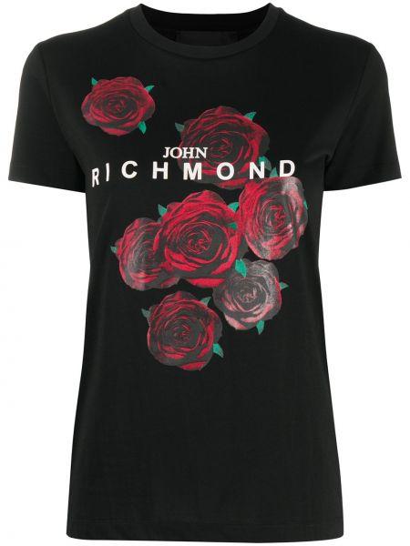 Хлопковая черная футболка с вырезом John Richmond