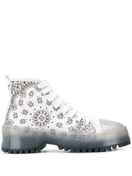 Кожаные белые высокие кроссовки на шнуровке Jessie Western