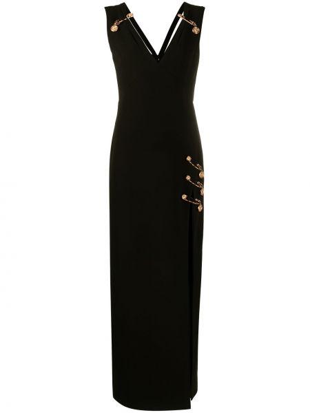 Шелковое черное платье макси с вырезом Versace