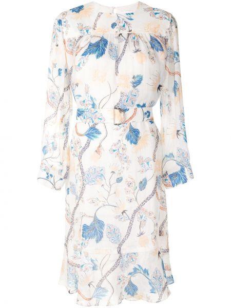 Белое платье макси трапеция с поясом Chloé