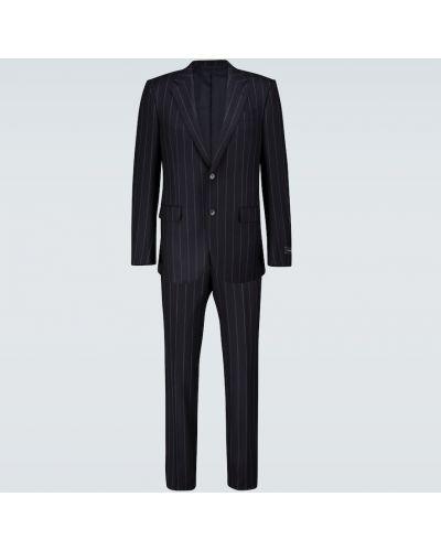 Wełniany niebieski jednorzędowy kostium garnitur Ermenegildo Zegna
