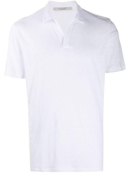 Прямая льняная рубашка с короткими рукавами с воротником La Fileria For D'aniello