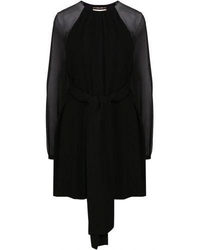 Платье с поясом с прозрачными рукавами из вискозы Saint Laurent