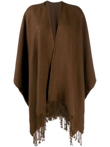 С рукавами коричневая кашемировая накидка свободного кроя Holland & Holland