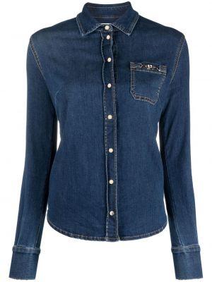 Синяя джинсовая рубашка с длинными рукавами с воротником Elisabetta Franchi