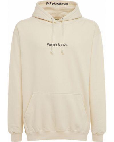 Beżowa bluza kangurka z kapturem bawełniana Famt - Fuck Art Make Tees