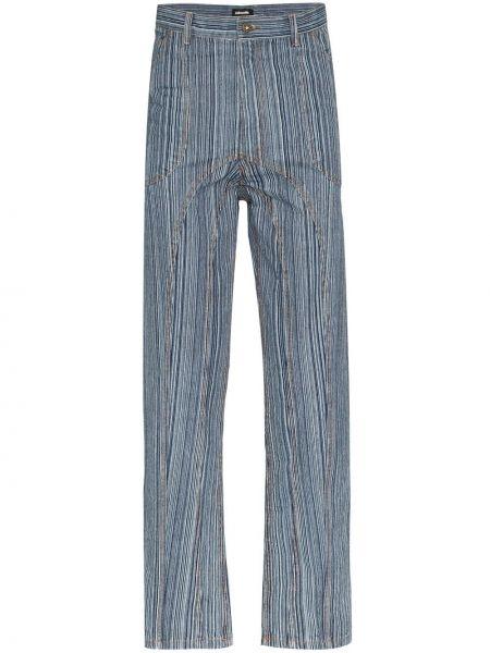 Niebieskie jeansy w paski bawełniane Ahluwalia Studio
