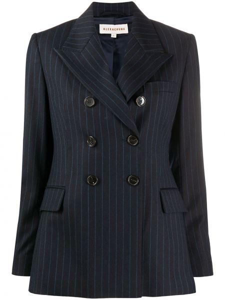 Шерстяной темно-синий пиджак с карманами на пуговицах Alexa Chung