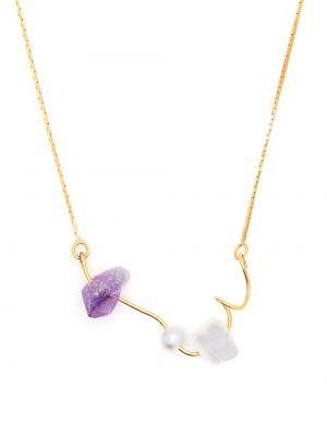 Złoty naszyjnik łańcuch - fioletowy Marni
