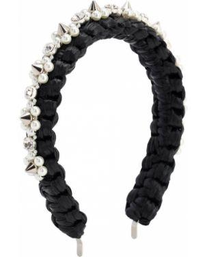 Ободок с жемчугом - черный Simone Rocha