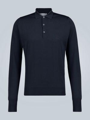 Облегченная черная рубашка с манжетами с воротником John Smedley