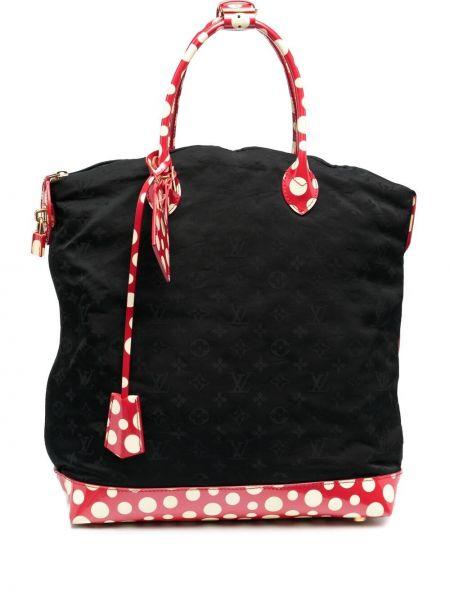 Черная кожаная сумка-тоут винтажная Louis Vuitton