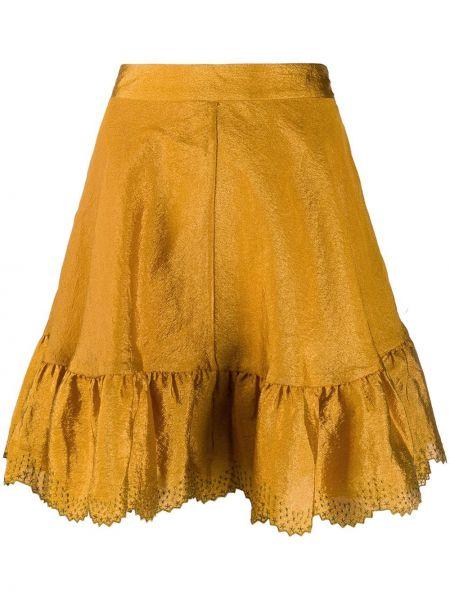 Золотистая желтая юбка мини на молнии Stine Goya