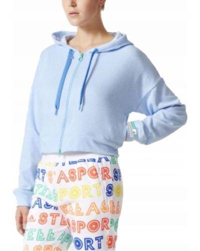 Niebieski bluzka z kapturem z długimi rękawami Adidas