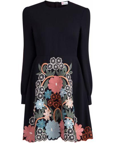 Платье с цветочным принтом с вышивкой Redvalentino