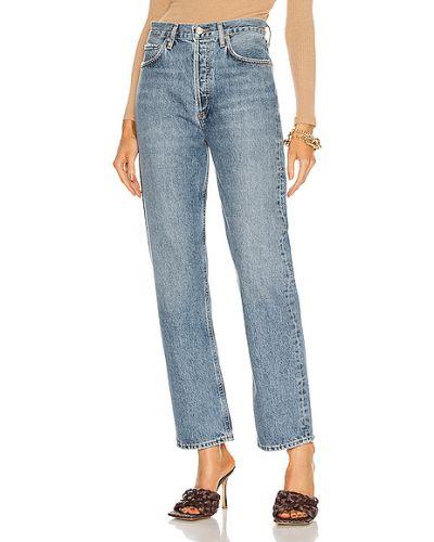 Niebieskie jeansy bawełniane vintage Agolde