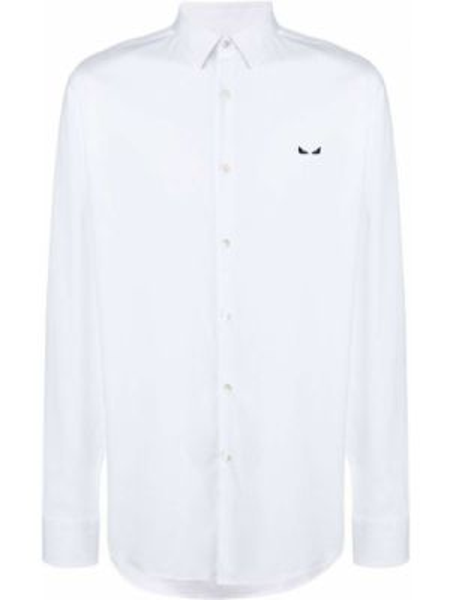 Klasyczna koszula bawełniana z haftem z długimi rękawami Fendi