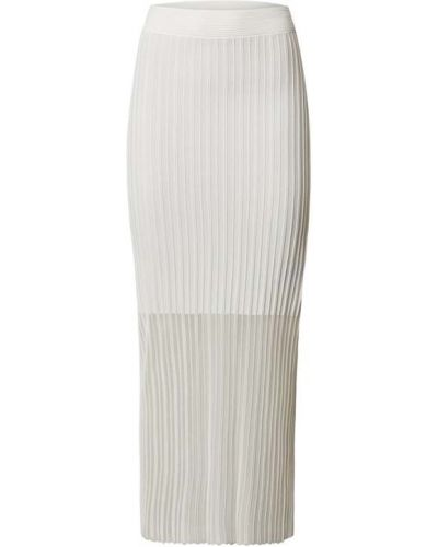 Biała długa spódnica w paski z wiskozy Hugo