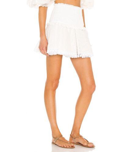 Biała spódnica mini z frędzlami koronkowa Chio