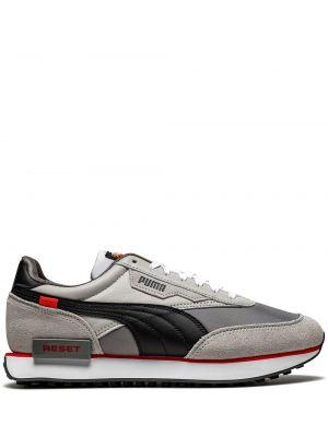 Серые кожаные кроссовки на шнурках Puma