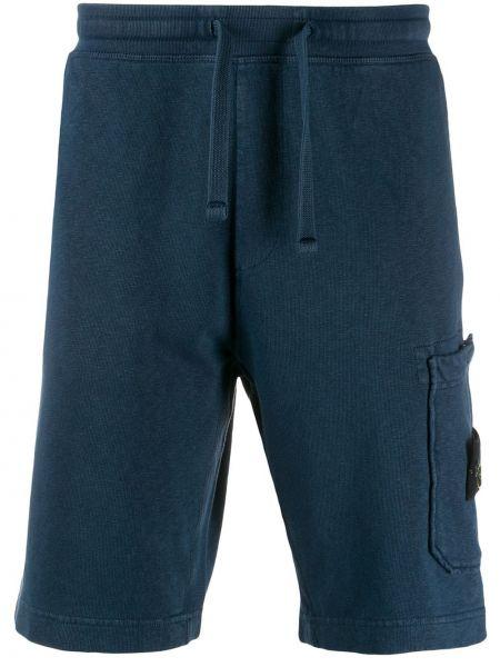 Синие короткие шорты с карманами Stone Island