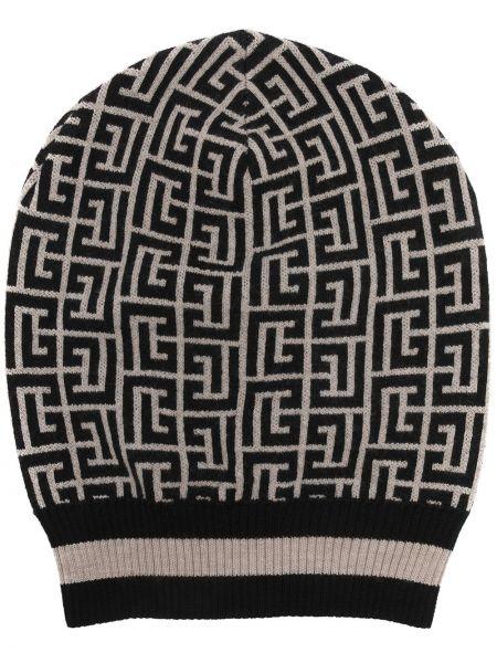 Czarna czapka prążkowana Balmain