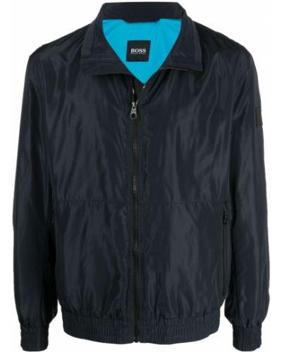 Niebieska długa kurtka ze stójką z długimi rękawami Boss Hugo Boss