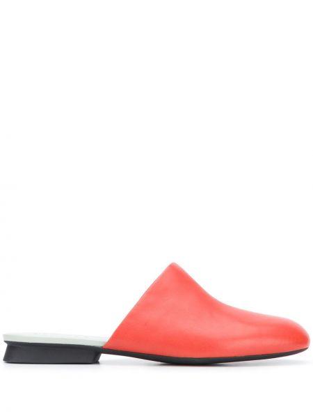 Красные кожаные мюли на каблуке Camper