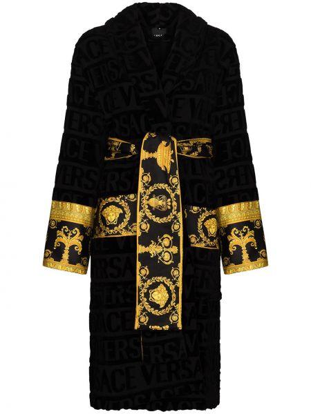 С кулиской черный хлопковый халат Versace