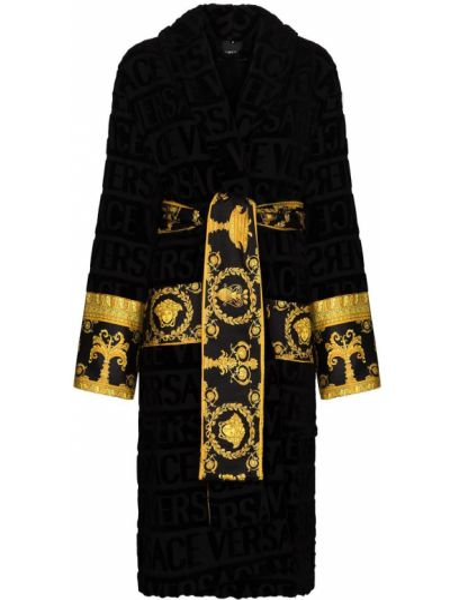 Czarny szlafrok bawełniany z printem Versace