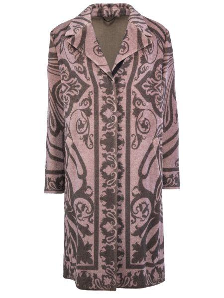 Сиреневое шерстяное пальто классическое с воротником на пуговицах Etro
