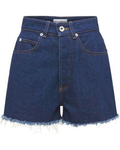 Хлопковые джинсовые шорты с карманами с манжетами Paco Rabanne