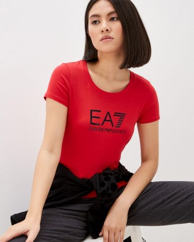 Красная футболка с короткими рукавами Ea7