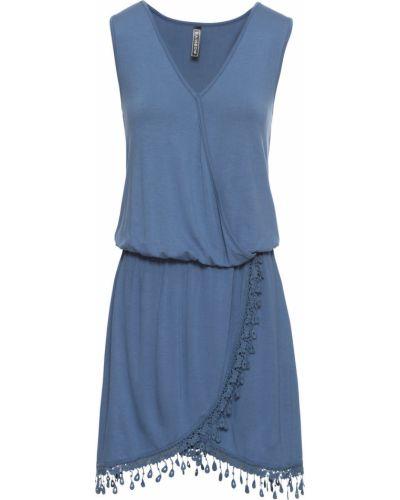 Джинсовое платье с запахом ажурное Bonprix