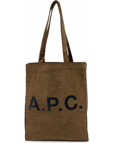 Коричневые брюки с принтом A.p.c.