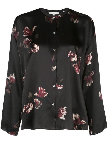 Блузка с длинным рукавом в полоску с воротником-стойкой Vince.