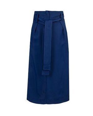 Синяя юбка миди в рубчик из вискозы Elisabetta Franchi