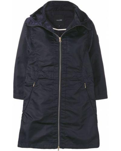 Синее длинное пальто с капюшоном Duvetica