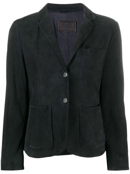 Однобортный черный кожаный удлиненный пиджак Prada Pre-owned
