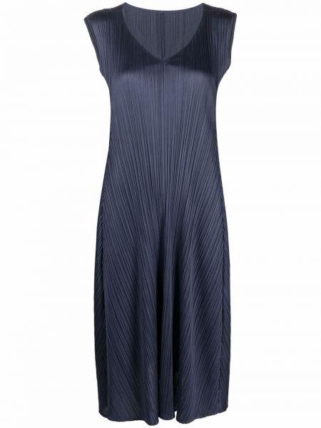 Платье с V-образным вырезом - синее Pleats Please Issey Miyake