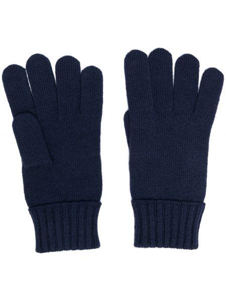 Prążkowane niebieskie rękawiczki wełniane Lacoste
