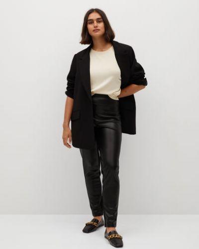 Кожаные черные брюки с высокой посадкой с аппликациями Mango