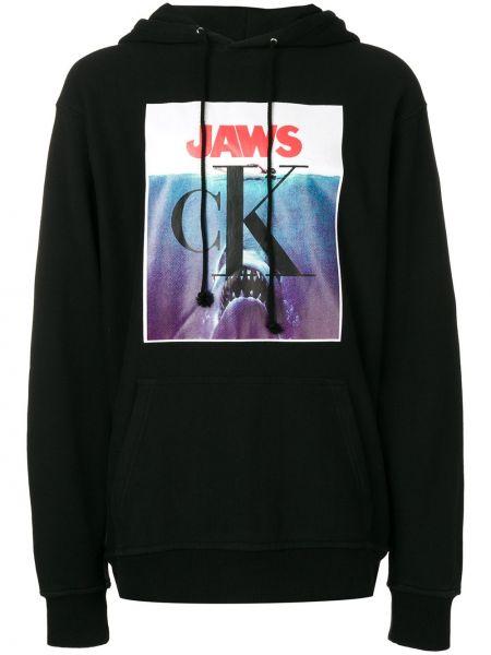 Czarna bluza długa z kapturem bawełniana Calvin Klein 205w39nyc