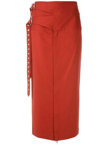 Хлопковая красная прямая юбка миди со вставками Reinaldo Lourenço