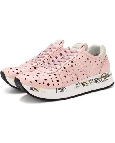 Кожаные кроссовки розовый свободного кроя Premiata