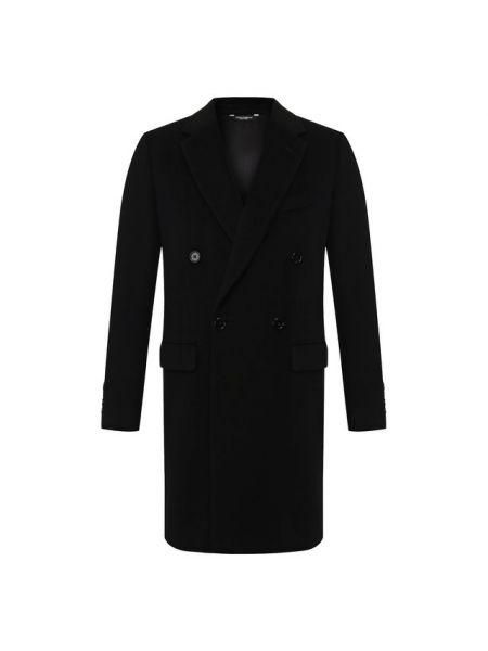 Черное шерстяное прямое пальто с подкладкой Dolce & Gabbana