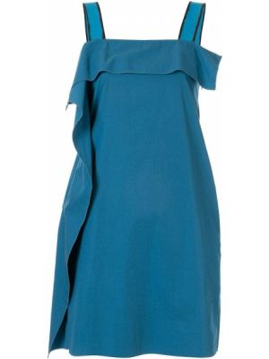 Синее тонкое платье мини на бретелях с вырезом Bottega Veneta Pre-owned